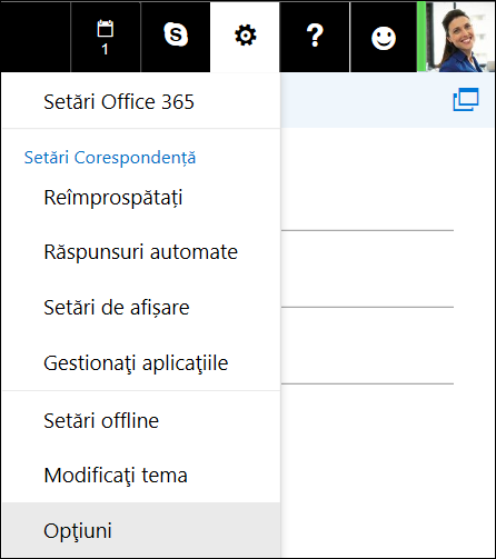 Outlook pe web - Opțiuni setări