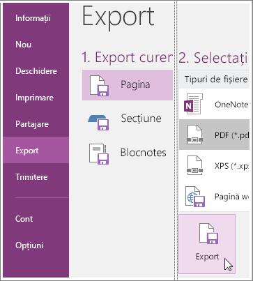 Captură de ecran cu instrucțiuni pentru exportul unei pagini de note în OneNote 2016.