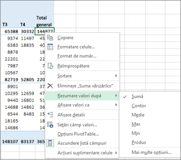 Un câmp cu valoare numerică dintr-un raport PivotTable utilizează în mod implicit Sum