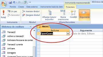 Open Query macro action