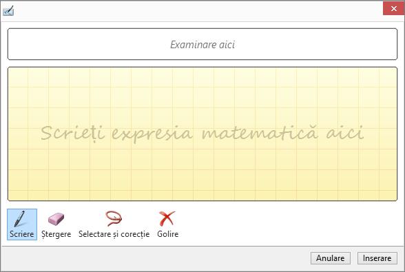 Se afișează panoul Ecuație în cerneală din PowerPoint