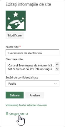 Locația site-ului de echipă SharePoint