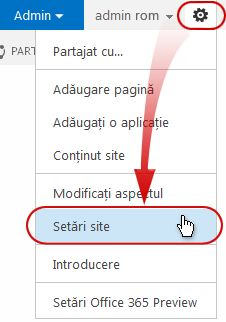 Site Settings command on the Site Actions menu