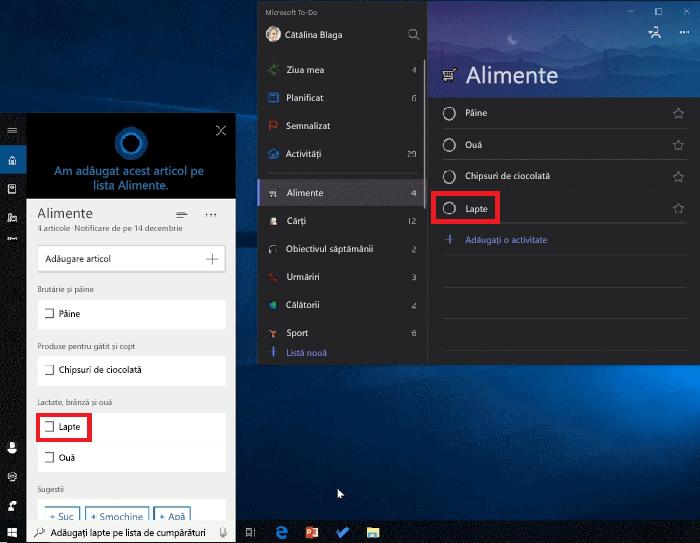 Captură de ecran afișând atât Cortana și Microsoft To-Do deschide pe Windows 10. Lapte a fost adăugat la listă de cumpărături utilizând Cortana și, de asemenea, este disponibilă în lista de cumpărături în Microsoft To-Do
