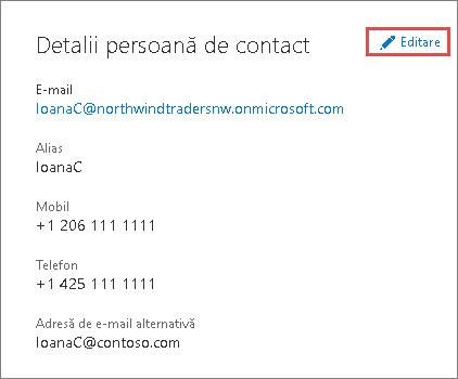Utilizați detaliile de contact pentru a actualiza informații pentru administratori