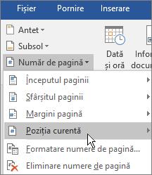În grupul Antet și subsol, alegeți Număr de pagină, apoi alegeți Poziția curentă.