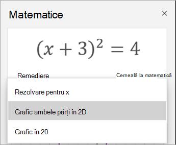 Dispunerea în 2D opțiune în panoul de matematică