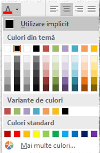 Meniul de culori Font în Visio.