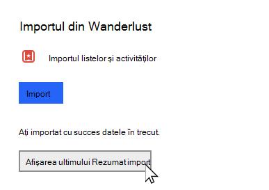 Pentru a face setări cu opțiunea de afișare a ultimului Rezumat import selectat