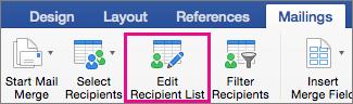 Faceți clic pentru a edita lista de destinatari