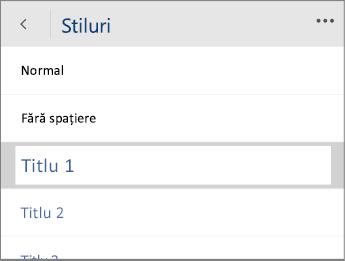 Captură de ecran a meniului Stiluri din Word Mobile, având selectată opțiunea Titlu 1.
