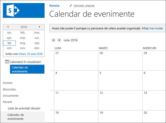 Exemplu de aplicație listă de calendare.
