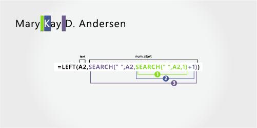 Formulă pentru separarea unui prenume, al doilea prenume, inițială de mijloc și nume