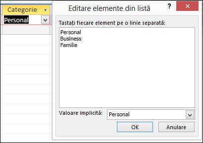 Caseta de dialog Editare elemente listă într-un formular Access editare