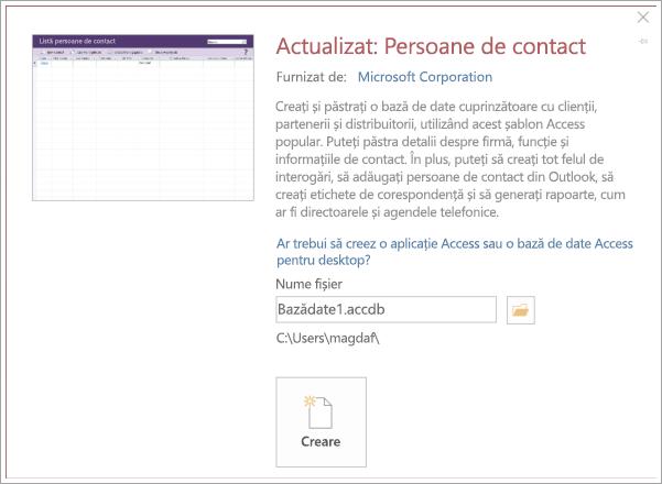 Captură de ecran cu interfața listă de persoane de contact