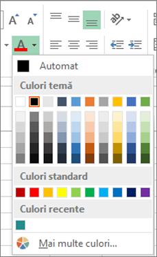 Selector de culori pentru fonturi