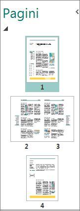 Panoul de navigare Pagină afișând atât pagini uncie, cât și extinderi pe două pagini.