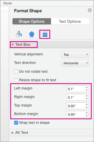 Opțiuni casetă text sunt evidențiate în panoul formatare formă.