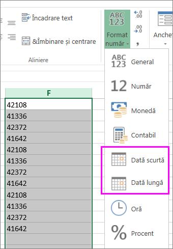 coloană de date în formatul text