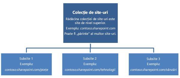 Diagramă ierarhică a unei colecții de site-uri, afișând un site de nivel superior și subsite-urile.
