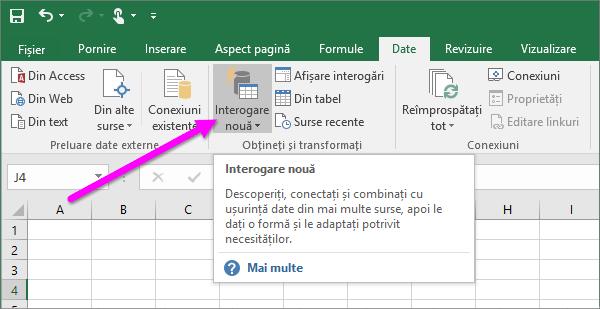 Interogare nouă în Excel 2016