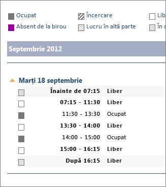 Exemplu de calendar partajat într-un e-mail