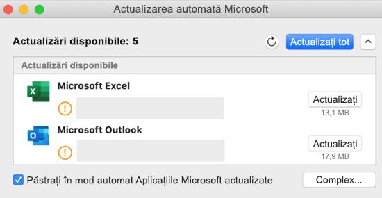 Imagine cu tabloul de bord actualizare automată Microsoft cu informații despre actualizări.