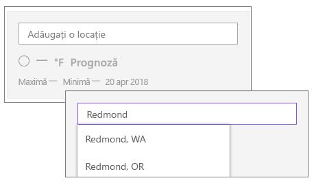 Adăugarea unei locații în partea Web meteo