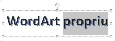 WordArt cu unele dintre text seclected