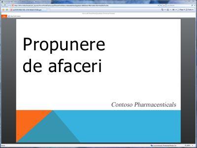 O expunere de diapozitive difuzată, așa cum este văzută în browser