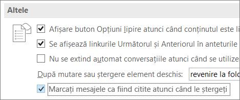 Caseta de selectare Marcați mesajele ca fiind citite atunci când le ștergeți în caseta de dialog Opțiuni Outlook