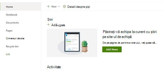 Vizualizarea de pornire a site-ului de echipă în experiența modernă SharePoint.