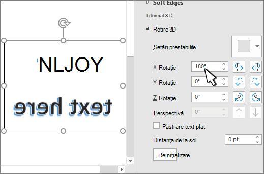 setările de rotație 3-D cu X setate la 180 grade