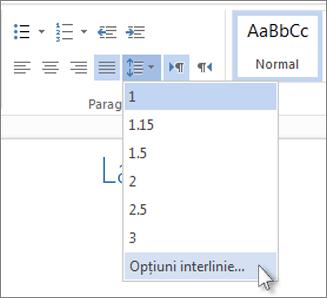 Meniul Interlinie din Word Web App