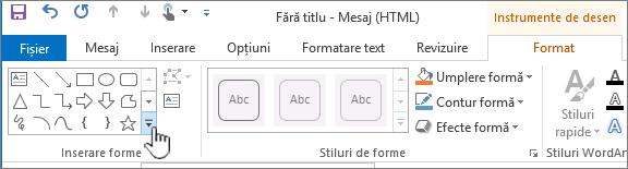 Butonul Inserare forme din Outlook