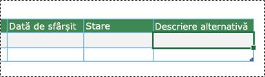 Captură de ecran pentru crearea unei diagrame cu Vizualizator date în Excel