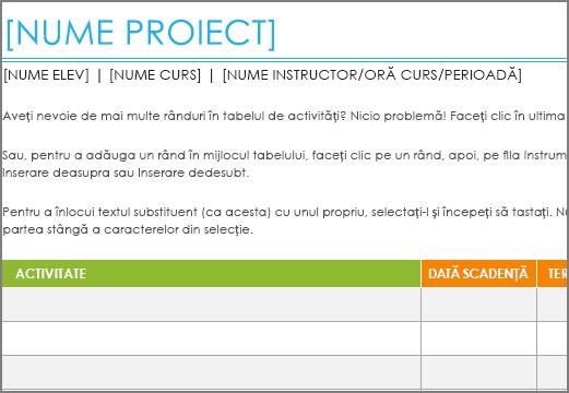 Șablonul Listă de activități Project vechi, cu un font minim de 8,5 puncte.