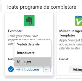 Captură de ecran care afișează un exemplu de dală de program de completare, având selectată opțiunea Eliminare.