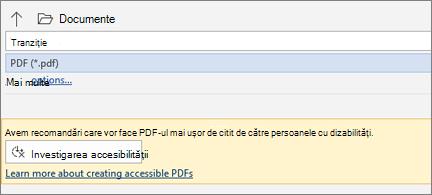 Caseta de dialog Salvare ca PDF cu mesaj galben, care vă invită să verificați accesibilitatea PDF-ului înainte de a-l salva