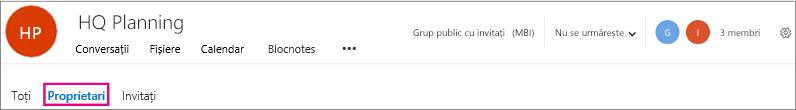 Antet pentru grupuri cu proprietarii link evidențiată
