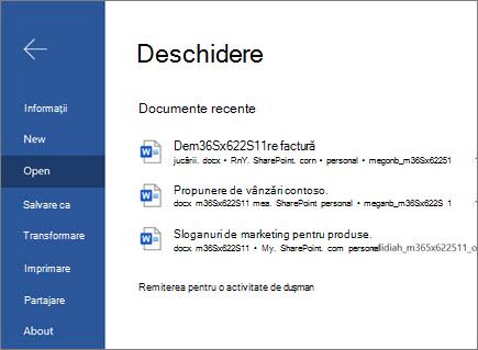 Deschiderea unui document în Word