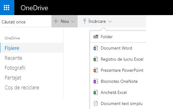 Captură de ecran a creării unui document din OneDrive.com