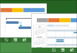 Imagine ilustrând două vizualizări ale unui plan de proiect