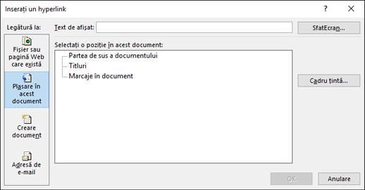 Crearea unui link la o locație din documentul curent
