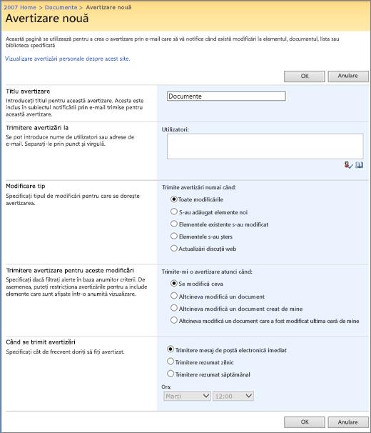 Pagina de opțiuni SharePoint 2007 avertizare