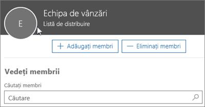 Captură de ecran: Adăugarea membrilor la listă de distribuire