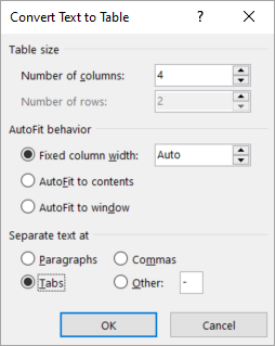 Este afișată caseta de dialog Conversie text în tabel.