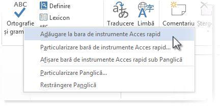 Adăugarea comenzii Ortografie și gramatică la Bara de instrumente Acces rapid din Word