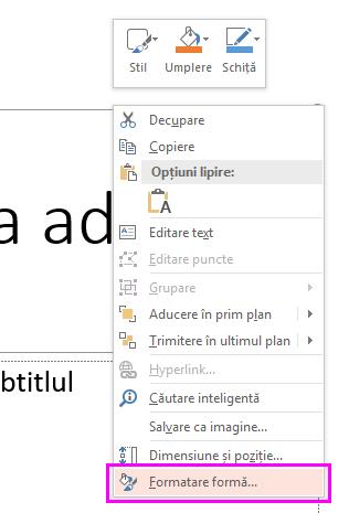 În meniul contextual, faceți clic pe formatare formă.