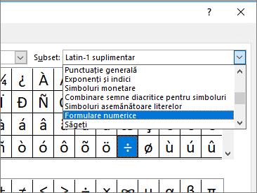 Selectați numărul de formulare în caseta de dialog Subset pentru a afișa fracții și alte simboluri matematice